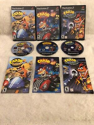 Crash Bandicoot PlayStation 2 Lot Nitro Kart Tag Team Racing Wrath of Cortex PS2 ()