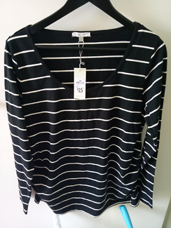 Maternity top black and white stripe - Size 16