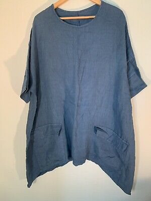 Women's Blue Italian Linen Short Sleeve Tunic Top with Pockets One Size One Pocket Tunic