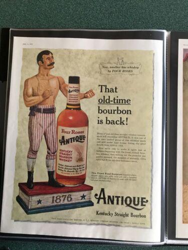 Boxer  Antique Bourbon Whiskey,  Four Roses,  Circa. 1950s Print Ad