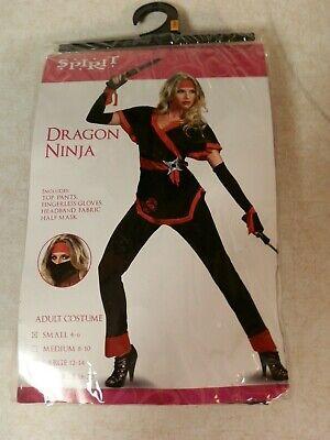 Spirit Halloween DRAGON NINJA Fighter COSTUME Woman's Size Small 4-6 NEW In Pkg