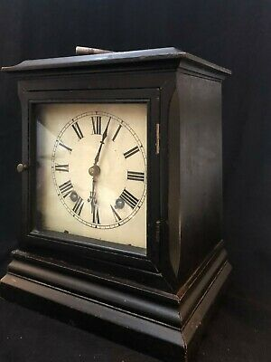 W&H SCH WINTERHALDER & HOFMEIER 8 DAY EBONISED MANTEL CLOCK