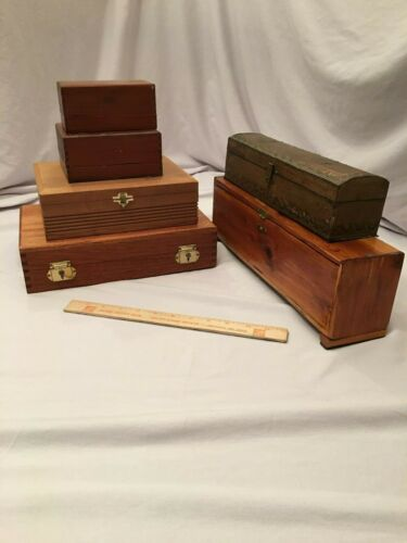 Lot of 6 Old Wooden Boxes Cigar Box FREE SHIPPING!