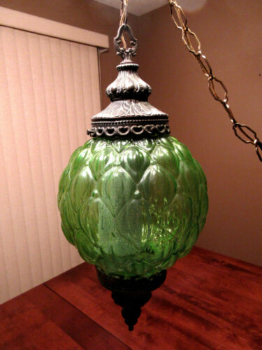 Vintage 1960's Mid Century Retro Green Glass Globe Hanging Swag Lamp