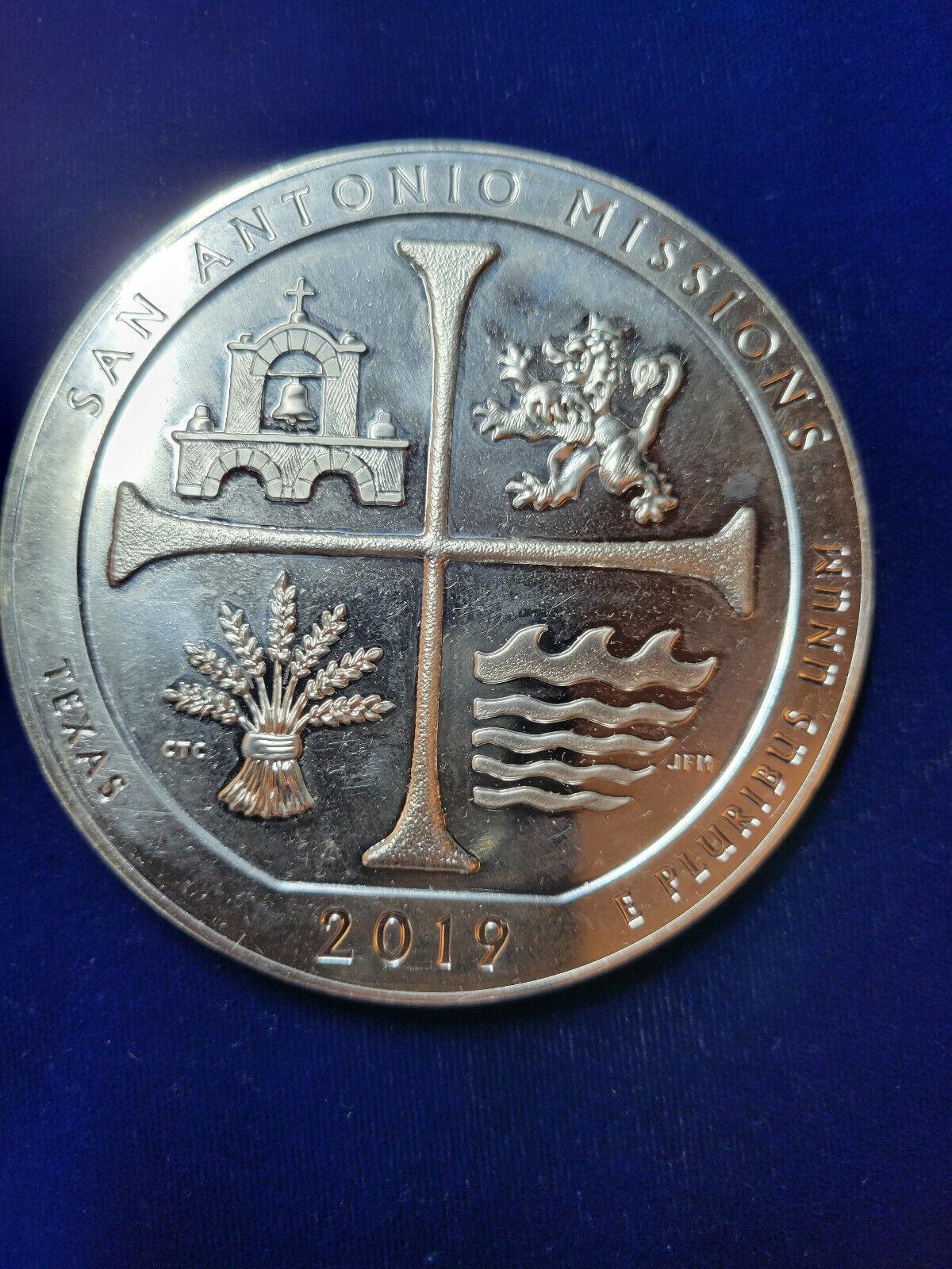 2019 5 Oz Silver ATB San Antonio Missions National Historical Park TEXAS  - $169.99