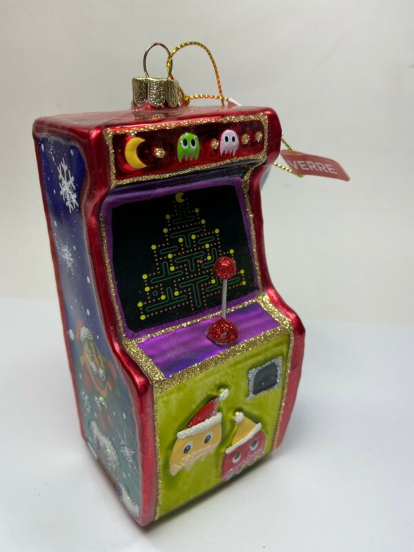 PacMan Retro Arcade Video Game Glass Christmas Ornament 80s 90s