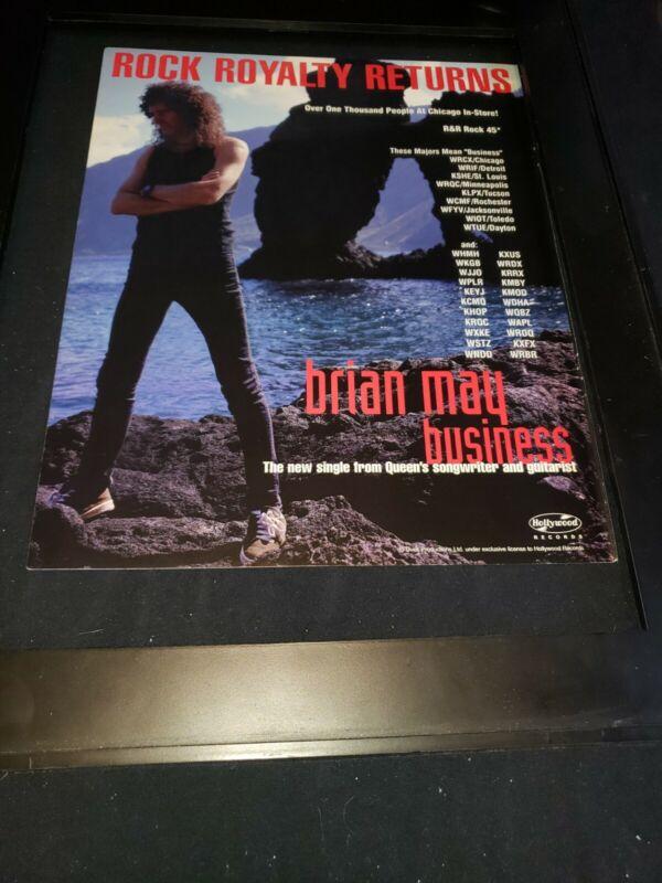 Brian May Business Rare Original Radio Promo Poster Ad Framed! #1