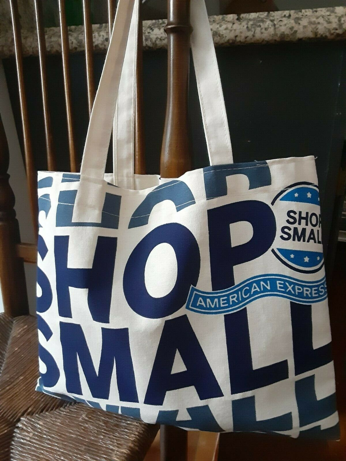 Small Business Canvas Bag - White And Blue - New - Great For Grocery And Shop  - $1.15