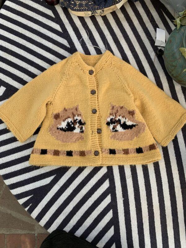Vintage Childrens Knit Raccoon Cardigan Sweater