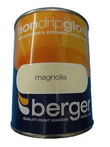 Berger Non Drip Gloss For Interior Exterior Wood Metal Magnolia Paint Ebay