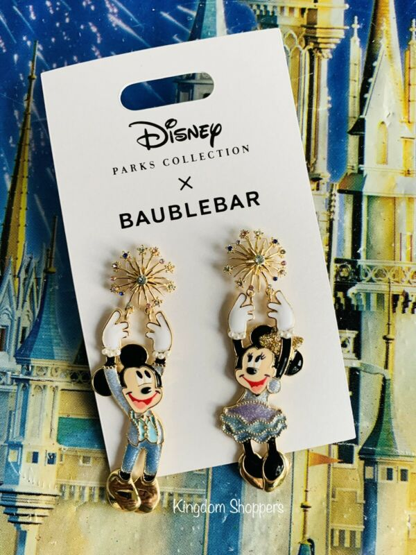 2021 Disney Parks 50th Celebration Mickey & Minnie Earrings by BaubleBar NEW