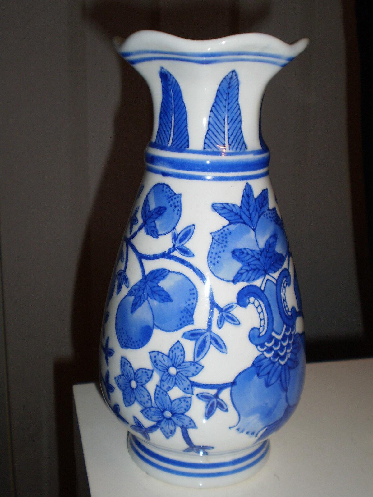 2x porzellan vase blau wei wellenrand vase tischvase bl ten china japan vase eur 24 00. Black Bedroom Furniture Sets. Home Design Ideas