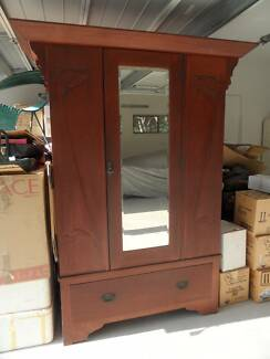 Art Deco Wardrobe with Carved Lilies & Bevelled Mirror