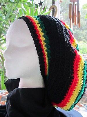Handmade Crocheted RASTA Reggae Dreadlocks Tam Beret Slouchy Hat - Dreadlocks Hats