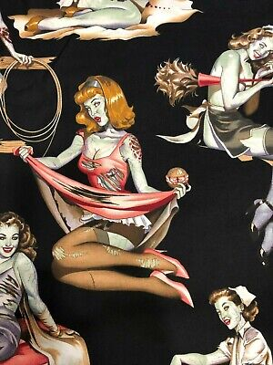 Alexander Henry Beauties & Brains Pin Up Girl Zombie Zombies on Black Fabric - Halloween Girl Zombie