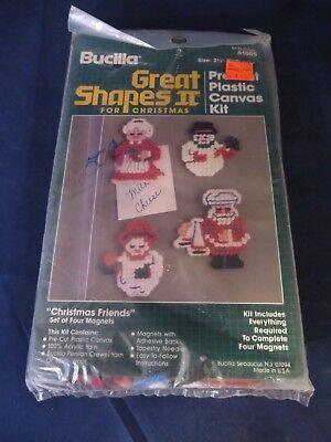 "Bucilla ""Christmas Friends"" Great Shapes Magnets Plastic Canvas Kit  - Makes 4"