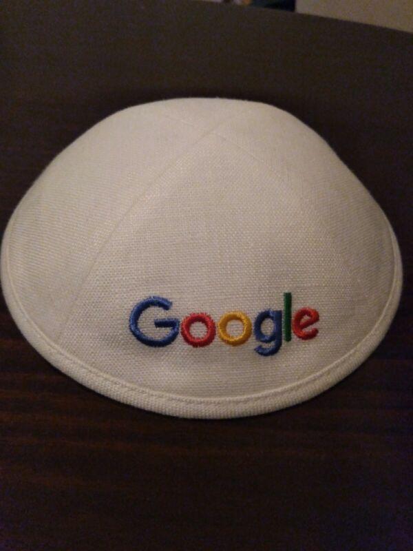 Google Official Logo Yarmulke Kippah Skullcap White Blanc NEW