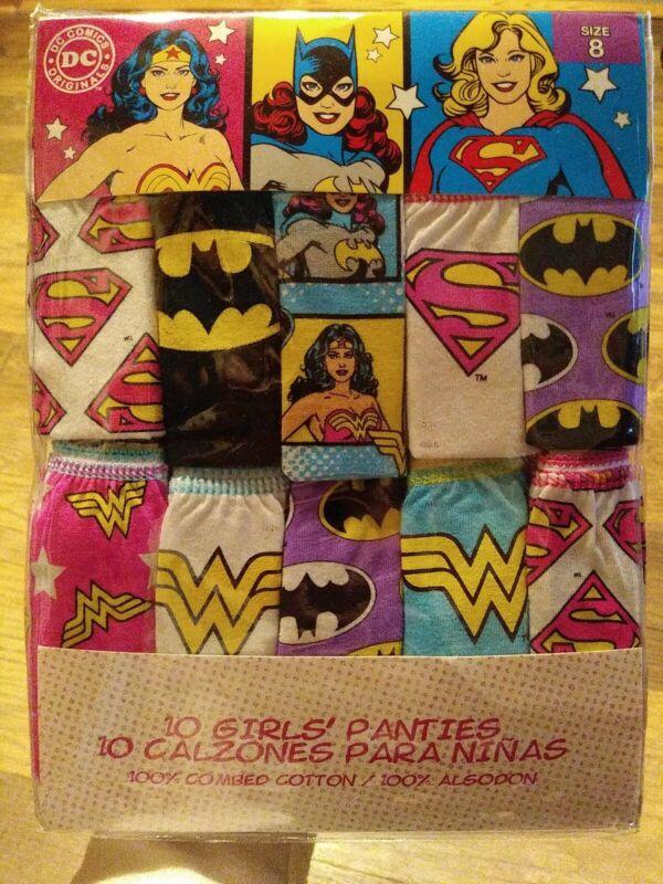 DC Comics 10 Girls Panties Size 8 NWT