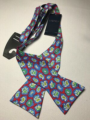 NEW DANIEL CREMIEUX ADJUSTABLE SILK FUN BOW TIE CLASSIC RED WITH PAISLEY