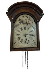 Antique Black Forest Wood Wag on Wall Clock with Folk Art Floral Painting