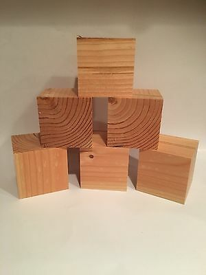 "Crafting Supplies - 2"" Wooden Crafting Block, 2x2 Inch, Cube, Douglas Fir Wood"