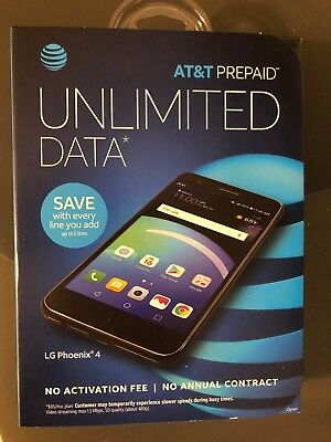 NEW LG PHOENIX 4  AT&T Cell Phone Prepaid 16GB Memory -Black SUPER FAST SHIPPING