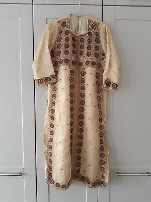 Vintage hippy boho Indian dress, size 10? Beaded, embroidered