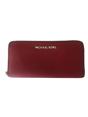 MICHAEL KORS JET SET ITEM LARGE ZIP AROUND CONTINENTAL WALLET RED LEATHER vguc