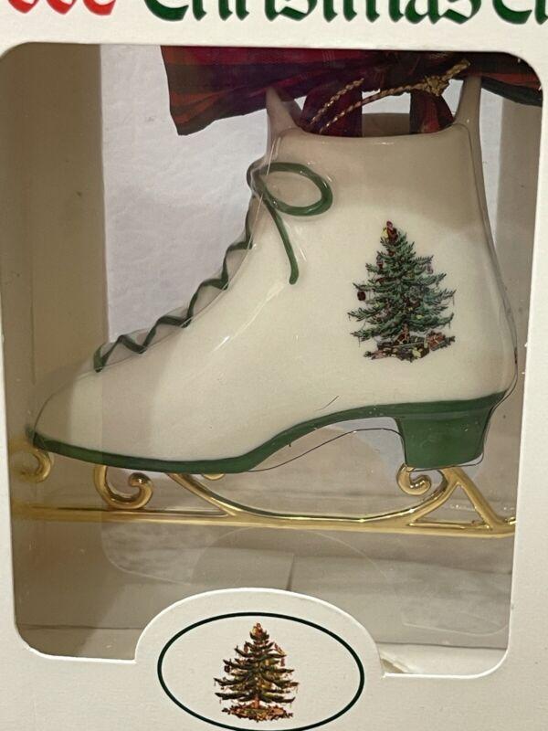 Vintage Spode Christmas Tree Ceramic Ice Skate Tree Ornament New In The Box