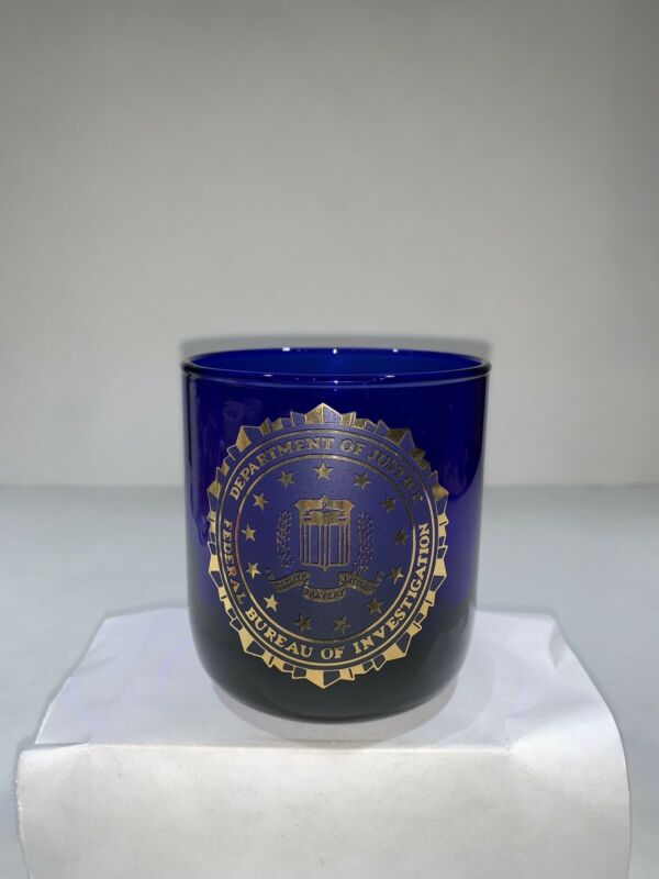 RARE Vintage USA Federal Bureau Of Investigation FBI Gold Tone Cobalt Blue Glass
