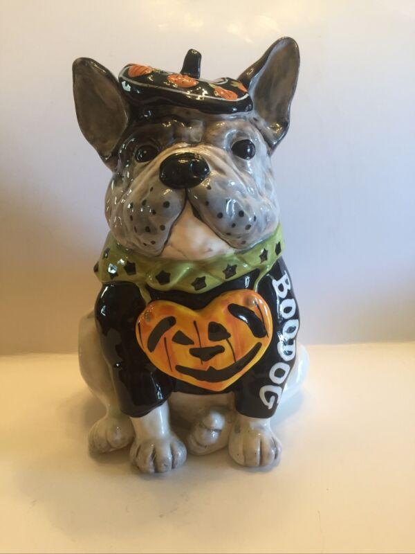 Blue Sky Clayworks Halloween French Bulldog BOODOG With Pumpkin Collar Decor