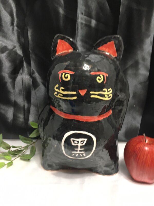 Manekineko beckoning Lucky Cat Sculpted Clay Pottery Handpainted Asian Statue
