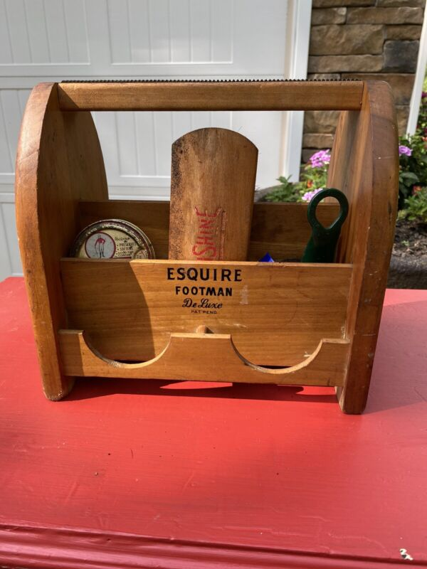 Vintage Esquire Footman Deluxe Shoe Shine Box Carrier wood with Accessories