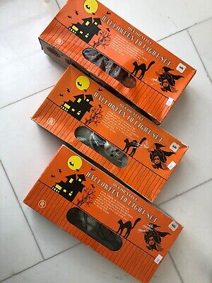 Set of 3 Vintage Halloween String Lights, Skulls and Pumpkins - Pumpkin Halloween Lights