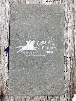 Antique Early 1900s Grill Cafe Petoskey Michigan MI Menu Booklet