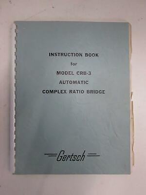 Gertsch Model Crb-3 Auto Complex Ratio Bridge Instruction Book Used