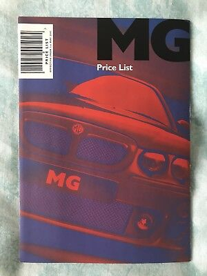 MG Range Price List brochure 1st May 2002 Publication 5874/B