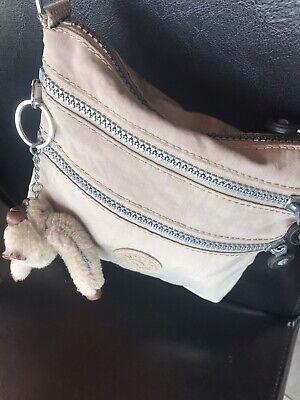 Small Kipling Alvar Shoulder/crossbody Beige Bag With Monkey And Long Strap.