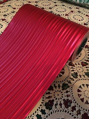 VTG CHRISTMAS STORE WRAPPING PAPER 2 YARDS GIFT WRAP RED MOIRE FOIL NOS