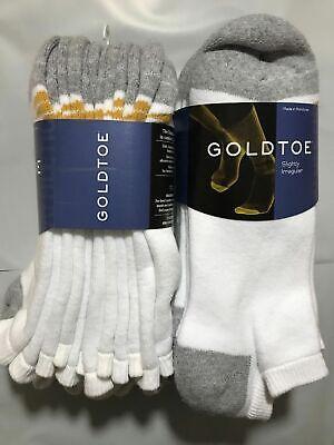 GOLD TOE Men's 6 PAIR PACK NO SHOW ANKLE SOCKS White Gray Heel Cotton SHOE 6-12  Gold Toe Cotton Ankle Socks