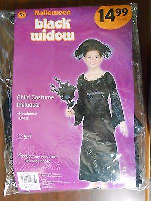 Black Widow Baby Halloween (NWT Halloween Black Widow Child Costume Size 5-7 Includes Dress &)