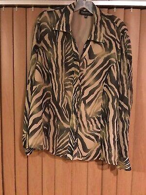 JONES NEW YORK Zebra Print Button Down Top Womens Plus Size 18W New York Zebra