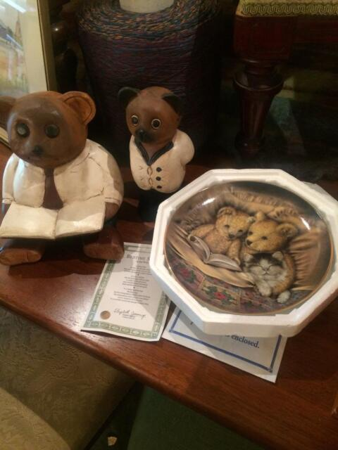 2 Handmade Wooden Bears And Quotbedtime Storyquot Plate Franklin