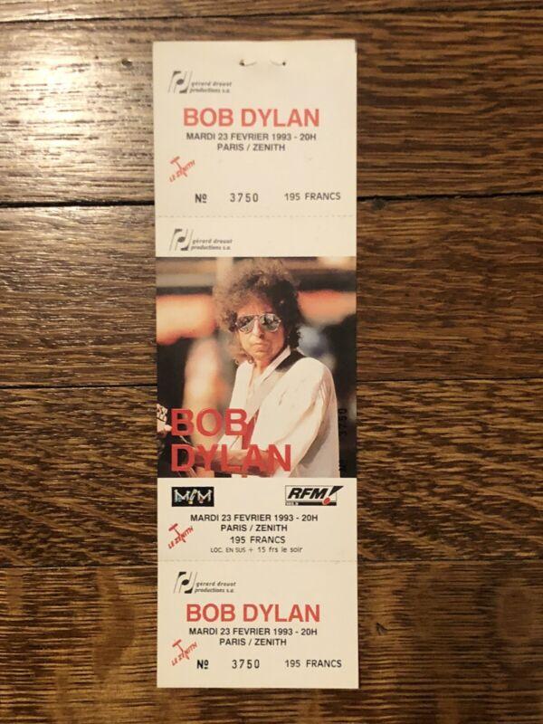 ORIGINAL Unused Bob Dylan Concert Ticket ** February 23, 1993 ** PARIS
