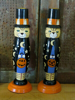 """Halloween Magician Cat Candle Holder Wood Candle Stick holders Hand Painted 9.5"""""""