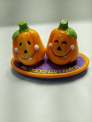 Halloween Pumpkin Salt & Pepper Shakers With Tray That Says No Tricks! All...