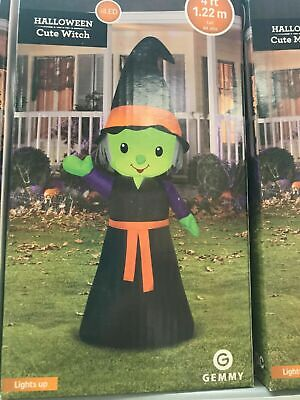 Witch Halloween Inflatable 4 ft Porch Greeter Cute Airblown Inflatable GEMMY