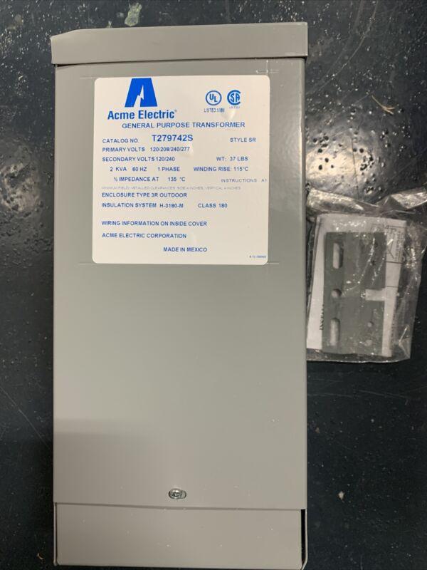 ACME ELECTRIC T279742S 2KVA 10 PRI 120/208/240/27 SEC 120/240 TRANSFORMER