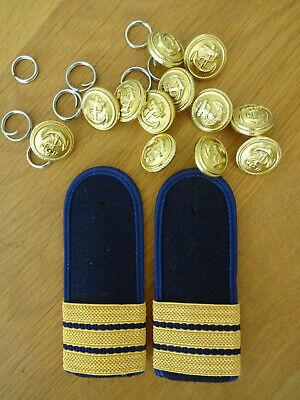 1 Paar Rangabzeichen und 10 Stück Marine Knöpf Knöpfe 21mm Kostüm Fasching