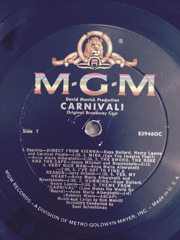 "Carnival! MGM E39460C RECORD ONLY NO COVER  David Merricks L ORIGINAL CAST 12"""